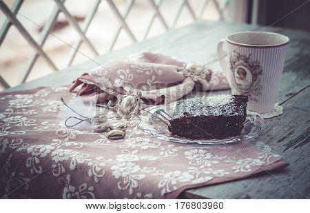Brownie Cake And Coffe