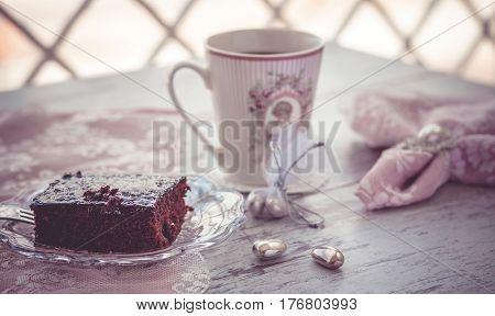 Chocolate Brownie Cake And Coffee