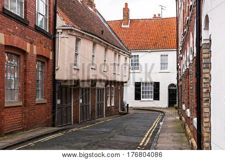 On a deserted street of the old city of York, UK