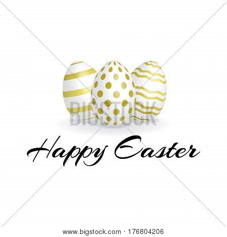 Happy Easter card with ornate eggs. Realistic Easter eggs with golden stripped decorative ornamental patterns. 3D vector eggs with golden ornament.