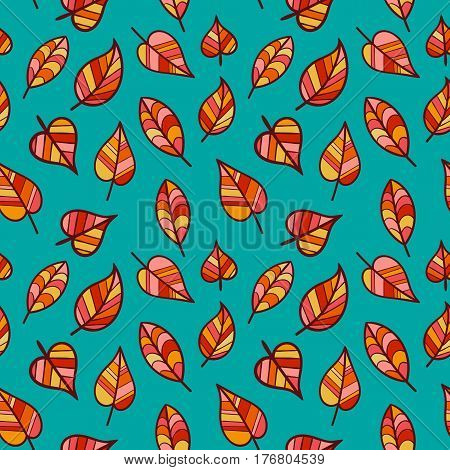 Seamless Pattern of Hand Drawn Autumn Leaves. Background Continued Design for Fabric Textile Pack Paper.