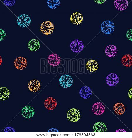 Seamless Colorful Decorative Ornament Polka Dot on Dark Backdrop. Continuous Pattern Colored Circles for Fabric Textile Wrapping Paper. Decorative Background of Abstract Spheres.