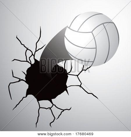 saliendo de la pared agrietada de voleibol