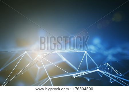 Abstract connected points forming polygonal pyramids on bright grey background. Technology concept. 3D Rendering