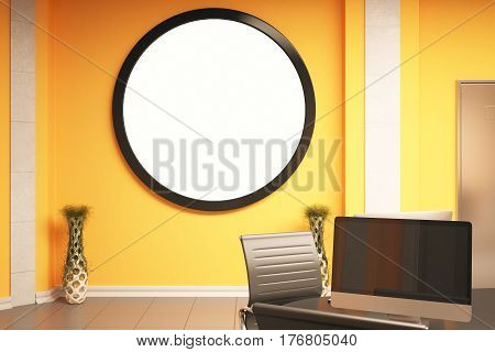 Interior with blank round frame decorative vase and workplace with empty computer screen. Mock up 3D Rendering