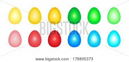 Set of stylized easter eggs from concentric ovals with a stepped gradient