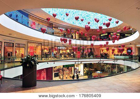 SPLIT CROATIA - FEBRUARY 18: Atrium of Mall of Split shopping center in Split on February 18 2017.