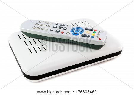 Remote And Receiver For Internet Tv On White Side View