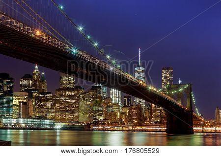 Panoramic View New York City Manhattan Downtown Skyline At Night
