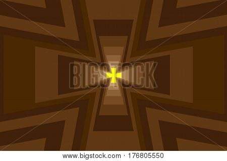 Cross - abstract geometric brown background , Abstract cross