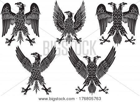 Set of heraldic black italian eagles. Vector illustration