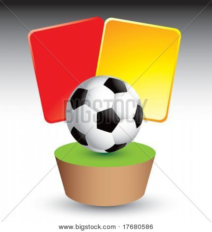 red and yellow penalty cards with soccer ball on grass patch