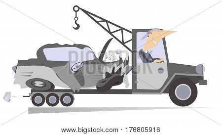 Wrecker isolated. Technical help worker transports a crashed car