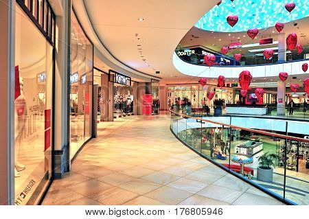 SPLIT CROATIA - FEBRUARY 18: Atrium and gallery of Mall of Split shopping centre in Split on February 18 2017.