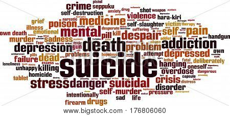 Suicide word cloud concept. Vector illustration on white