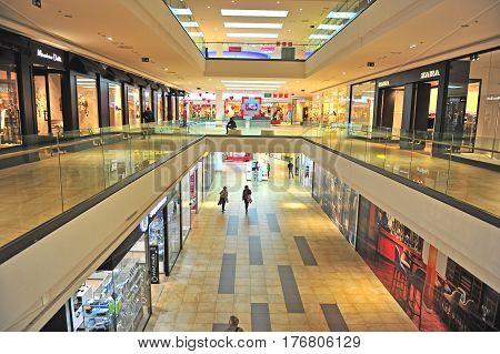 SPLIT CROATIA - FEBRUARY 18: Interior of Mall of Split shopping centre in Split on February 18 2017.