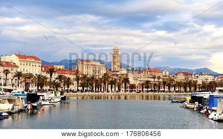 SPLIT CROATIA - FEBRUARY 18: View of historical centre of Split on February 18 2017. Split is a capital of Dalmatia region of Croatia.