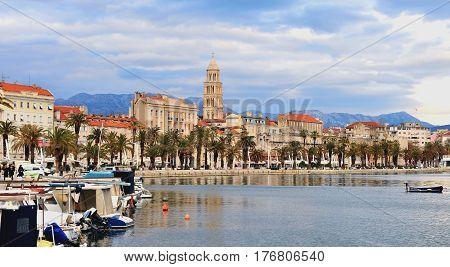 SPLIT CROATIA - FEBRUARY 18:Panoramic view of Split town on February 18 2017. Split is a capital of Dalmatia region of Croatia.