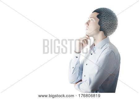 Side view of thoughtful businessman with robotic brain on white background with copy space