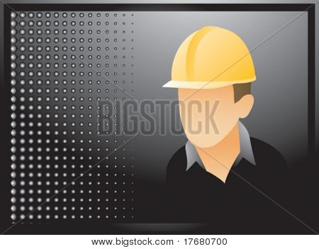 construction worker on black halftone banner poster