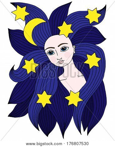 Beauty woman colorful portrait with moon and star in the long hair. Vector Illustration. Trendy print. Girl portrait for coloring book card invitation posters placards banners.
