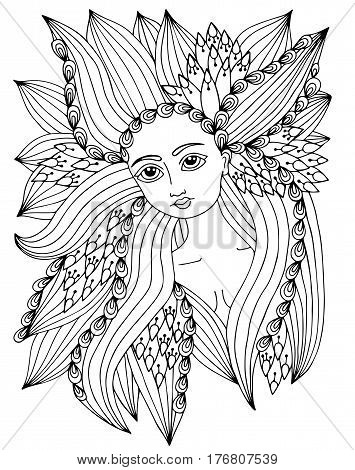 Beauty woman portrait with abstract ornate pattern in the long hair. Vector Illustration. Trendy print. Girl portrait for coloring book card invitation posters placards banners.