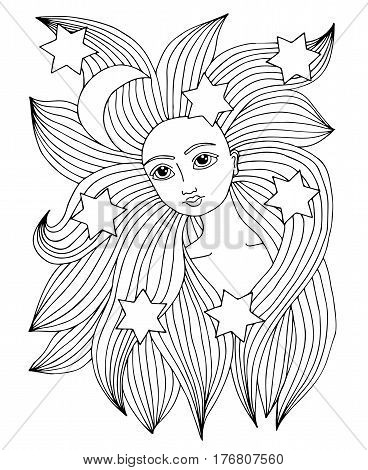 Beauty woman portrait with moon and star in the long hair. Vector Illustration. Trendy print. Girl portrait for coloring book card invitation posters placards banners.