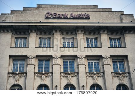 VIENNA AUSTRIA - FEBRUARY 11: Facade of Bank Austria building in Vienna on February 11 2017.