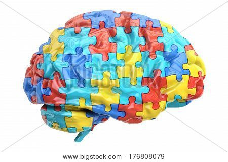 Autism concept with brain 3D rendering isolated on white background