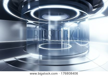 Side view of glowing silver teleportation station. Future technologies concept. 3D Rendering