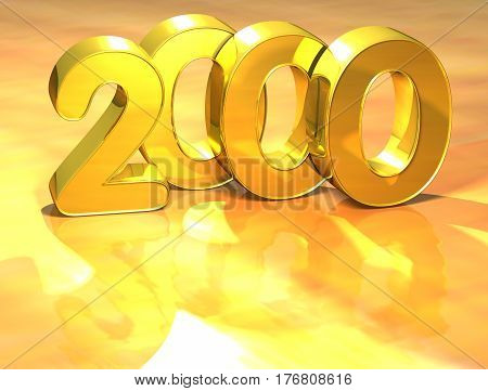 3D Gold Ranking Number 2000 On White Background.