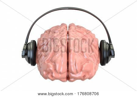 Headphone with brain 3D rendering isolated on white background