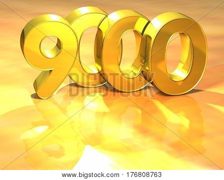 3D Gold Ranking Number 9000 On White Background.