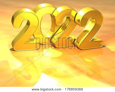 3D Gold New Year 2022 On White Background