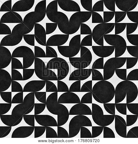 Seamless Pattern With Chaotic Semicircles. Abstract Irregular Retro Background. Grungy Geometric Texture