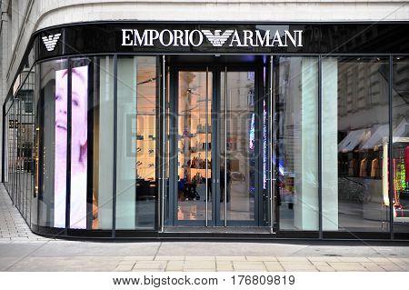 VIENNA AUSTRIA - FEBRUARY 11: Facade of Emporio Armani store in the street of Vienna on February 11 2017.