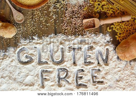 Gluten Free Cereals Corn, Rice, Buckwheat, Quinoa, Millet, Pasta And Flour With Text Gluten Free On