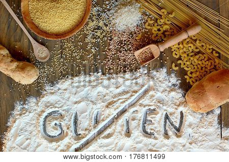 Gluten Free Cereals Corn, Rice, Buckwheat, Quinoa, Millet, Pasta And Flour With Scratched Text Glute