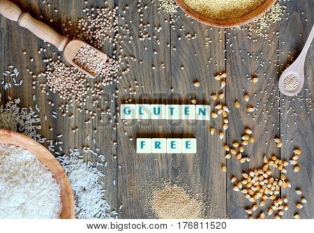 Gluten Free Cereals Corn, Rice, Buckwheat, Quinoa, Millet And Amaranth With Text Gluten Free On Grey