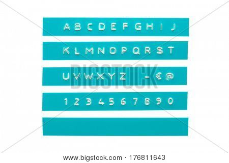 embossed alphabet on cyan plastic tape, isolated on white