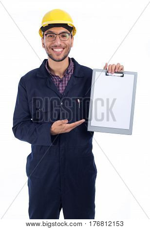 Young worker pointing to white paper report isolated