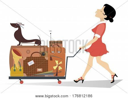Smiling woman pushing a trolley with the luggage