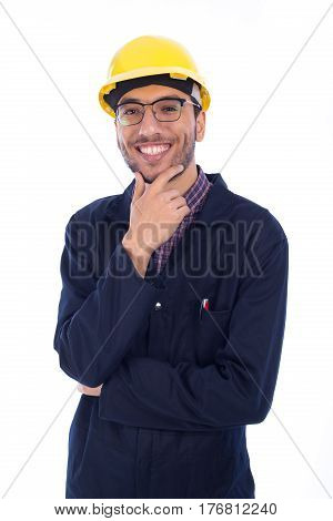 Young worker smiling isolated on white background