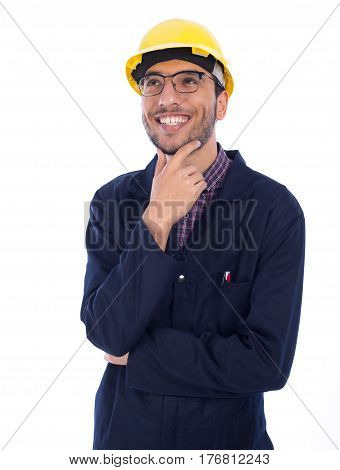 Young worker looking up on white background