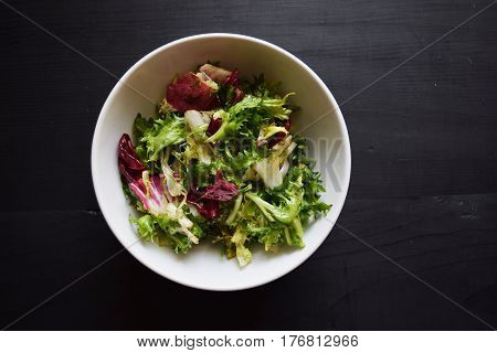 Salad mix with rucola  Fresh vegetable salad, healthy food,  salad leaves