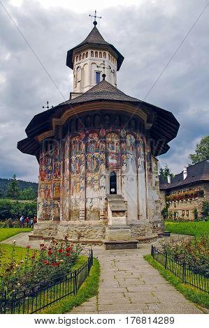 Moldova, Romania - July 4,  2014. Visiting The Monastery Voronet, Region Suceava.