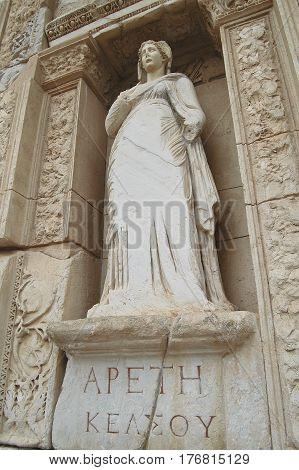 Ephesus, Turkey - September 13, 2009. Visiting Apeth (greek For Arete), The Statue Representing Virt