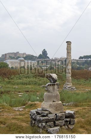 Ephesus, Turkey - September 13, 2009. Visiting The Ruins Of The Temple Of Artemis, Also Known  As Th
