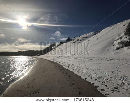 Beautiful Sandy beach in Newfoundland in Winter