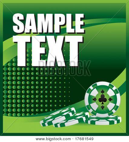gambling chips on green halftone banner